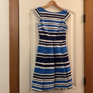 Kate Spade Blue and White Striped A-Line Dress